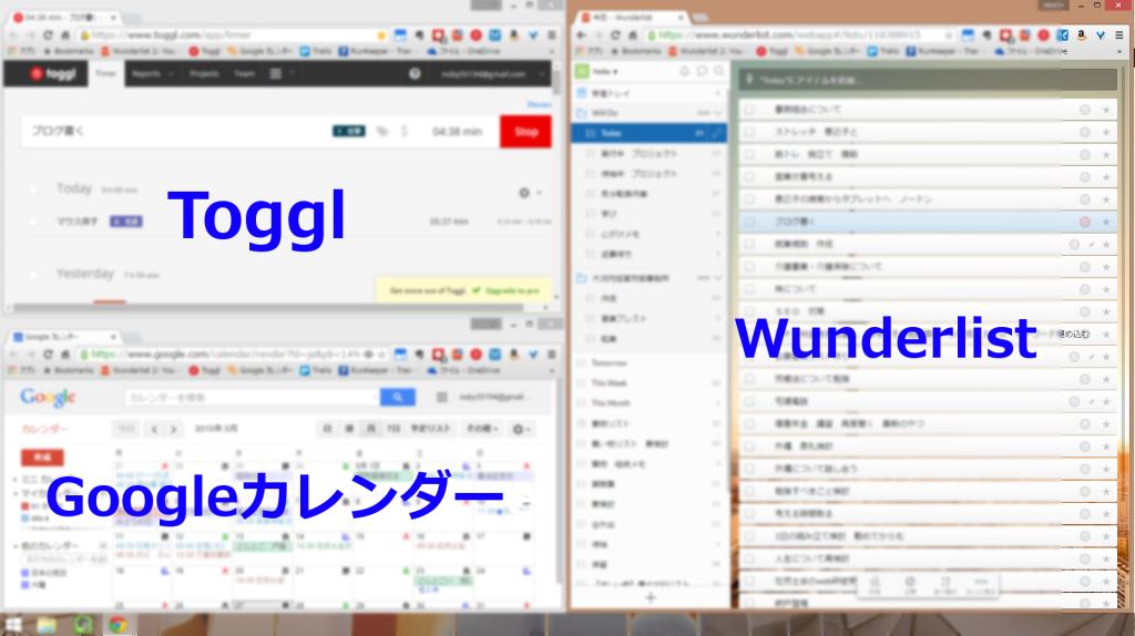 Wunderlist,Toggl,googleカレンダー